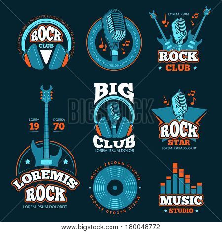 Vintage music studio production vector labels. Musical badges or logos and emblems with guitars and microphones