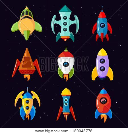 Cartoon spaceships isolated on white background. Rocket and futuristic spacecraft set vector illustration