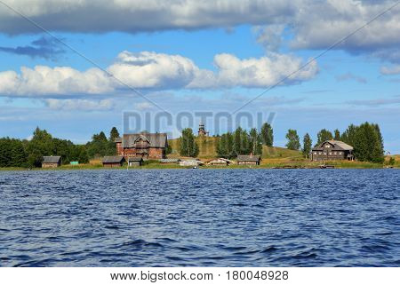 Old russian north wooden architecture on Kizhi island in Onega lake, Karelia
