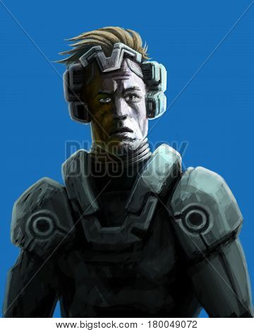 Spaceman sketch. Science fiction illustration. Heroic face. Freehand digital drawing. Serious character in space suit.