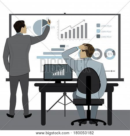 Two Business Man - Presentation Or Brainstorming,infographic Ele