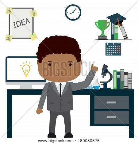 African Amercan Man Scientist Or Office Worker In Office,