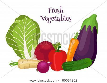 Fresh vegetables - bok choy, eggplant, carrot, cucumber, onion, bell pepper. Vegetarian food. Cartoon flat style.