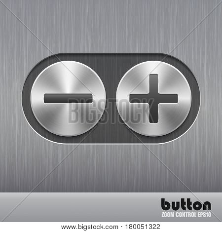 Set of round metal button with brushed texture and illustration of plus and minus for increase or decrease sound isolated on a dark recess in background with metal brushed texture
