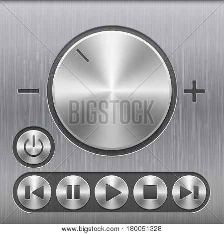 Set of volume sound control button, round metal buttons with basic audio symbols and with brushed texture isolated on a dark recess in background with metal brushed texture