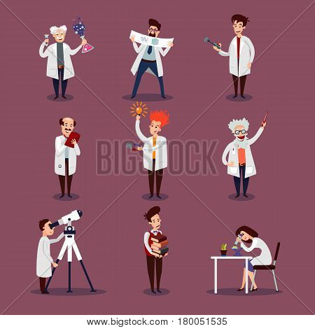 Scientists characters set with chemists biologists physicists and astronomer in different situations isolated vector illustration
