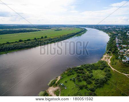 Small russian town aerial landscape near Oka river
