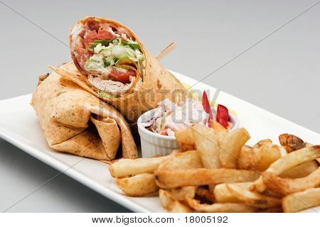 Chicken Wrap And French Fries