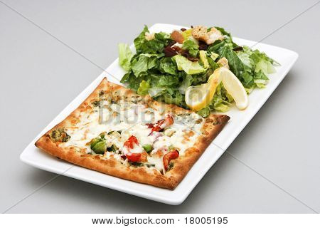 Vegetarian Pizza And Salad