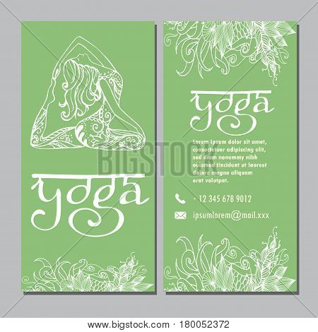 Design template for yoga studio business card, hand drawn stock vector illustration.