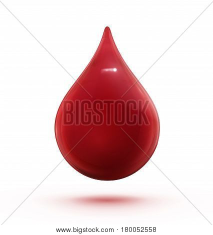 Vector illustration of a single red shiny blood drop