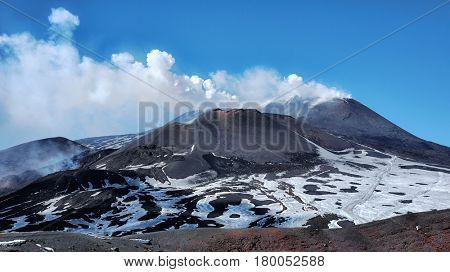 active Southeast Craters emit white smoke, Etna Park - Sicily