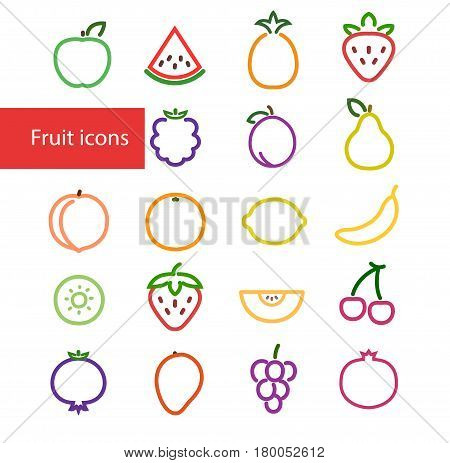 Vector illustration. Set Of Outline Colorful Stroke Fruit icons: pineapple apple watermelon strawberry blackberry plum pear peach orange lemon banana kiwi melon cherry mango grapes pomegranate blueberry and cherries