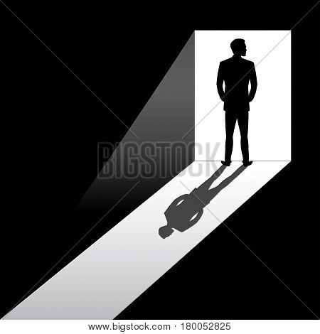 Silhouette of business man entering dark room with bright light in doorway, cartoon stock vector illustration
