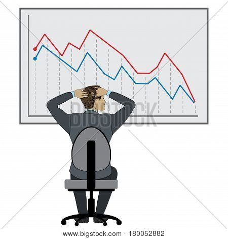Office work or brainstorming, Business man and falling graph, stock vector illustration
