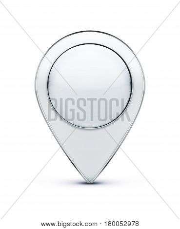 Vector illustration of glossy silver map location pointer icon