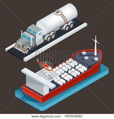 Vector isometric illustration, icons truck with tanker for transportation of liquid fuel, sea tanker with cargo cistern and helicopter pad. The concept of oil transportation