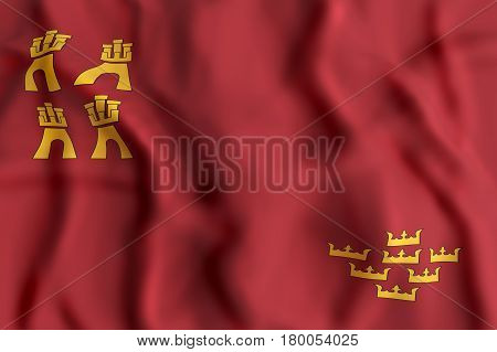 3d rendering of a Murcia Community flag waving poster