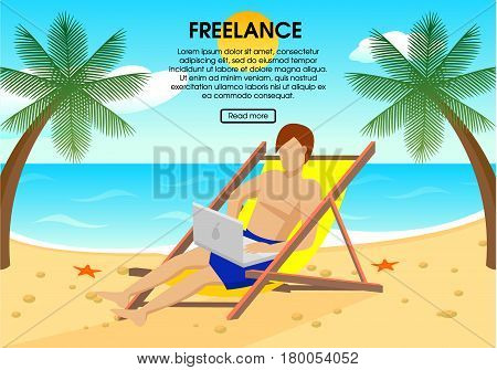 Flat freelance concept with man sitting in chaise longue and working on laptop on beach vector illustration