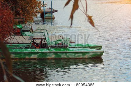 Yacht Catamaran in the tropical sea at sunset Yachting