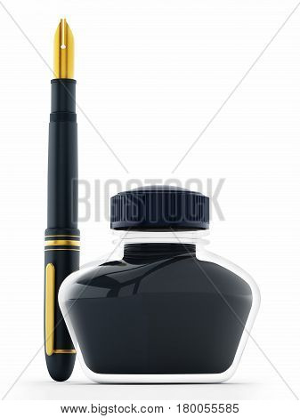 Blue ink bottle and pen isolated on white background. 3D illustration.