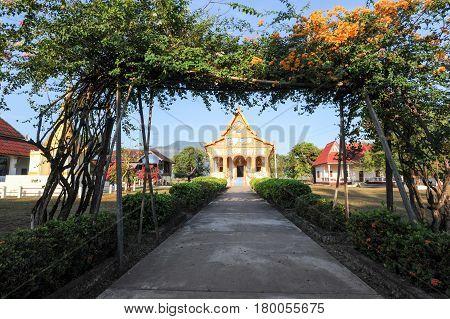 Champasak, Laos - 23 January 2012: Buddhist temple of Champasak on Laos