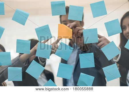 business people with project planning paper