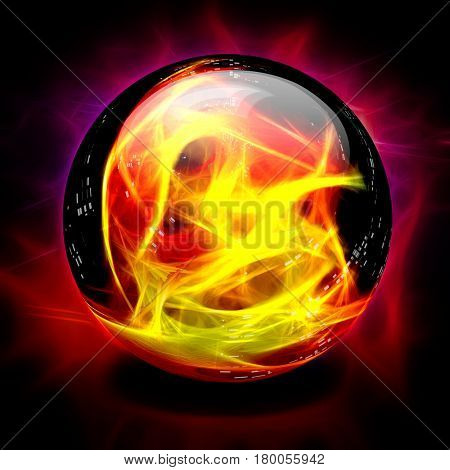 Crystal Ball Fire  3D Rendering