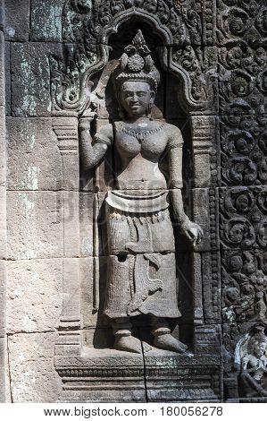 Detail Of Wat Phu Temple In Champasak