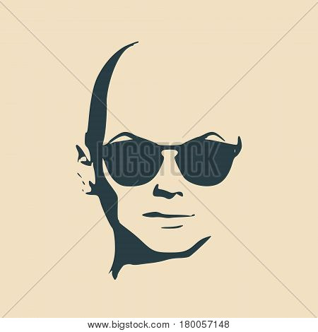 Portrait of beautiful woman in black sunglasses. Without hair. Vector version. Front view. Bald head