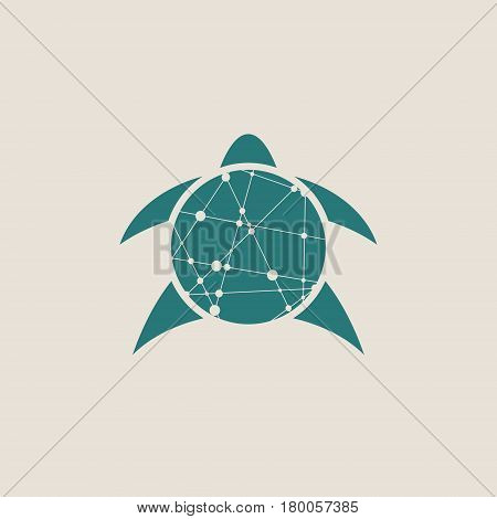Silhouette stylized sea turtle on white background. Turtle symbol. Vector illustration