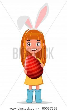 Happy Easter greeting card. Young smiling redhead girl wearing bunny ears and holding striped Easter egg. Cute cartoon character with bunny ears mask. Vector illustration