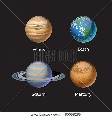 High quality solar system planet galaxy astronomy and earth universe moon science globe cosmos orbit star vector illustration. Astrology planetary world exploration journey scientific surface.