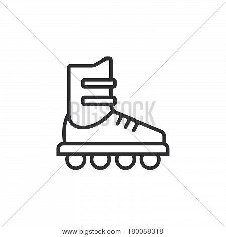 Inline skate line icon roller outline vector sign linear pictogram isolated on white. logo illustration