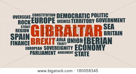 Image relative to politic situation between Great Britain and European Union. Politic process named as brexit. Gibraltar relative tags cloud