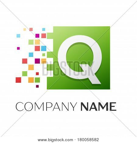 Letter Q vector logo symbol in the colorful square with shattered blocks on white background. Vector template for your design