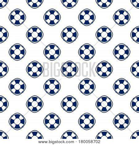 Lifebelt, Seamless Maritime Pattern, Blue Lifebuoy on White Background ,Vector Illustration