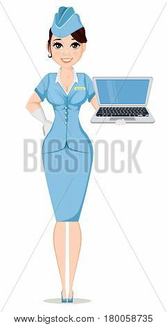 Stewardess in professional uniform. Cute smiling woman working as air hostess holding modern laptop. Crew member of a civil aircraft. Cheerful cartoon character. Vector stock illustration.