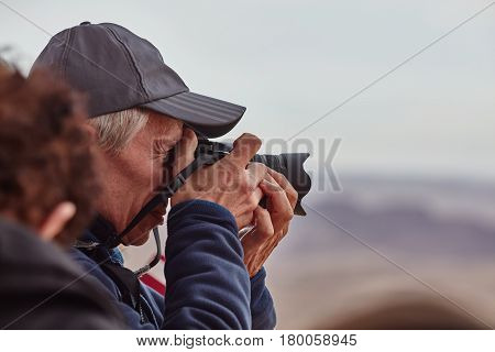 Mitzpe Ramon, 02 December 2016: Photographer Takes Pictures Of Mountain View