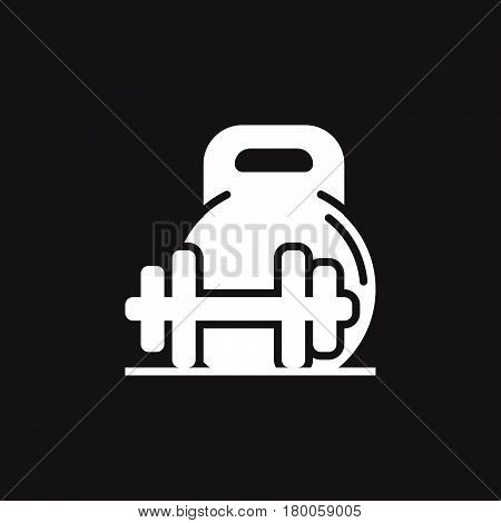 weight and barbell icon vector solid flat sign pictogram isolated on black logo illustration