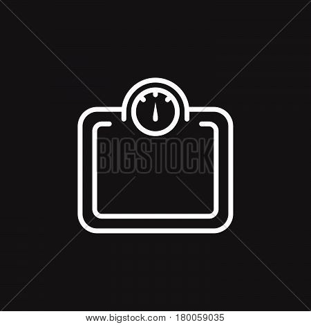 Weight scale line icon outline vector sign linear pictogram isolated on black. logo illustration