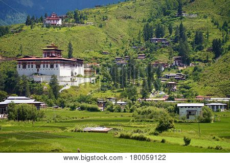 Landscape view of Paro with traditional Bhutan houses, Bhutan