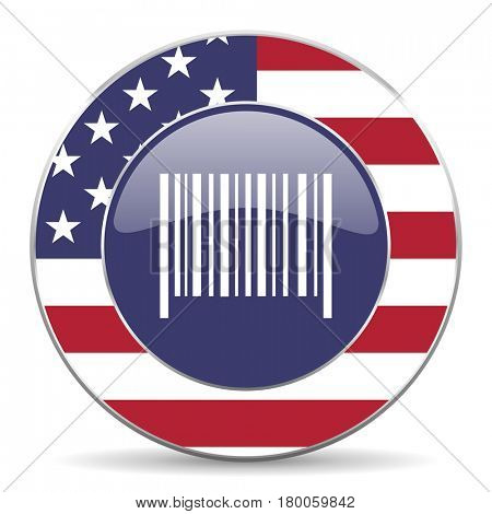 Barcode usa design web american round internet icon with shadow on white background.