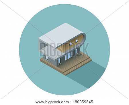 Vector isometric modern architecture building, infographic elements representing low poly town apartment building