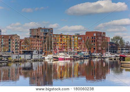 GRONINGEN, NETHERLANDS - APRIL 03, 2017: Apartment buildings at the east harbor of Groningen, Netherlands