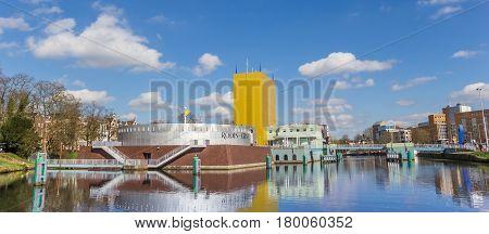 GRONINGEN, NETHERLANDS - APRIL 03, 2017: Panorama of the Groningen museum in The Netherlands