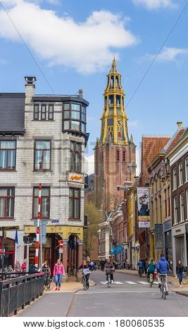GRONINGEN, NETHERLANDS - APRIL 03, 2017: Church tower in the historical center of Groningen, Netherlands