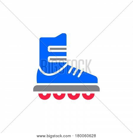 Inline skate icon vector roller solid flat sign colorful pictogram isolated on white logo illustration