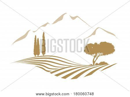 rural vector landscape with plowed field mountains cypress and pine tree
