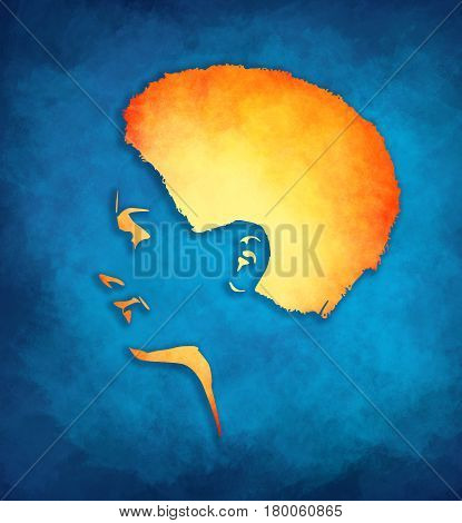 Face profile view. Elegant silhouette of a female head. Short hair. Beautiful smiling woman. Sketch style illustration. Grunge brush stroke.